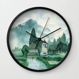 Japanese Village , After Rain ,  Art Watercolor Painting print by Suisai Genki  Wall Clock