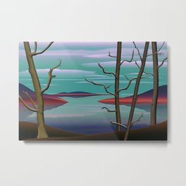 Spring Trees By A Lake. Metal Print