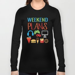 Video Game Party Snack Pattern Long Sleeve T-shirt