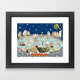 Snow Monkeys in Hot Spa Framed Art Print