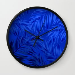 Palm Tree Fronds Brilliant Blue on Blue Hawaii Tropical Décor Wall Clock