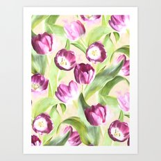 Deep Magenta Tulips on Creamy Peach Art Print