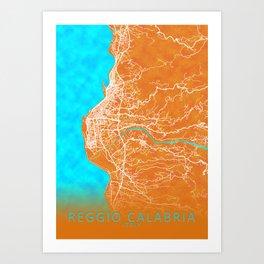 Reggio Calabria, Italy, Gold, Blue, City, Map Art Print