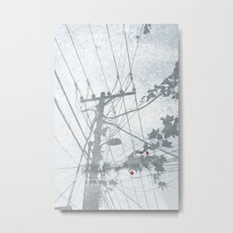 Flowers on the Power Lines Metal Print