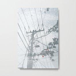 Flowers on the Power Lines Metal Print