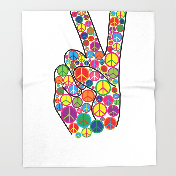 Cool Colorful Groovy Peace Sign And Symbols Throw Blanket By