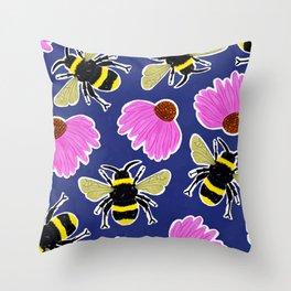 Bumblebee Floral Print  Throw Pillow