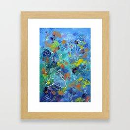Blue Dried Flowers Framed Art Print