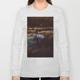 Purple & Blue Lotus Lily Flower Vintage Photography Floral Pond Long Sleeve T-shirt