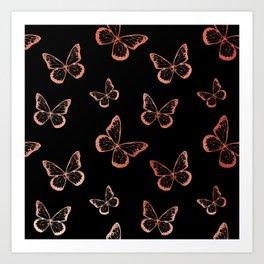Rose Gold Butterflies Art Print