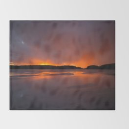 Sunset With Orange Sky Reflections On The Icy Lake #decor #society6 #homedecor #buyart Throw Blanket