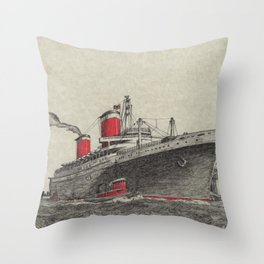 Steam Ship, New York Harbor Throw Pillow