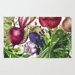 background of fresh vegetables watercolor illustration. Rug