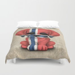Cute Puppy Dog with flag of Norway Duvet Cover