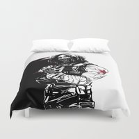 bucky Duvet Covers featuring Winter Soldier by Irene Flores