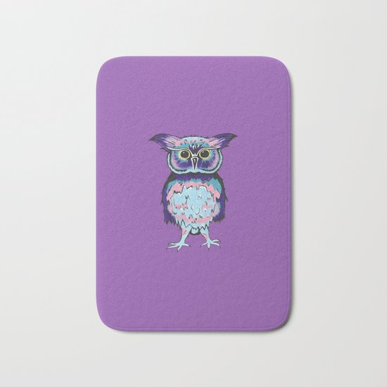 Small Purple Owl Bath Mat
