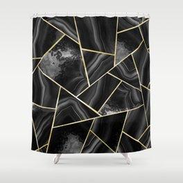 Black Night Agate Gold Geometric Glam #4 #geo #decor #art #society6 Shower Curtain