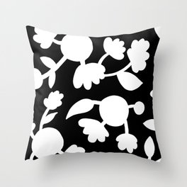 Bold floral pattern Black Throw Pillow