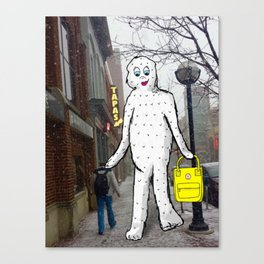 Ann Arbor Winter Doodles: Abominable Snow Woman Canvas Print