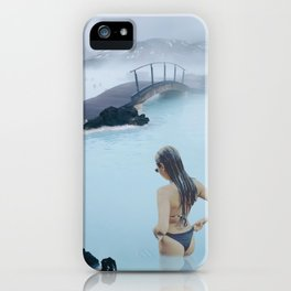Woman in the Blue Lagoon Iceland iPhone Case