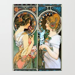 "Alphonse Mucha ""Primrose and Feather"" Poster"