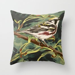 Chestnut-sided Warbler Throw Pillow