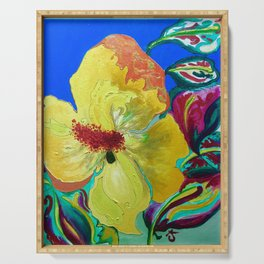 Birthday Acrylic Yellow Orange Hibiscus Flower Painting with Red and Green Leaves Serving Tray