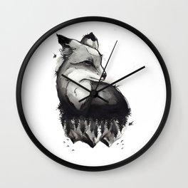 Black & Grey Foxes Wall Clock