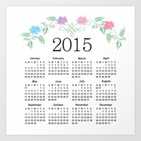 calendar Art Prints featuring 2015 Calendar by Sweet Colors Gallery