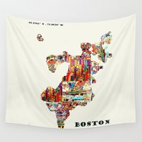 boston Wall Tapestries featuring boston map by bri.b