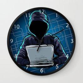 Computer hacker spread a net Wall Clock