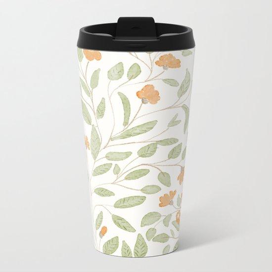 Spring Orange Floral Pattern Metal Travel Mug