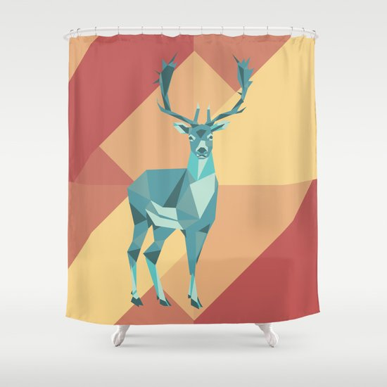 Origami deer shower curtain by minette wasserman society6 for Origami curtain