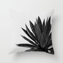 Agave Cactus Black & White Throw Pillow