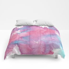 Pink, Purple and Blue Abstract Watercolour Comforters