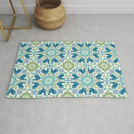 Blue Roosters Rug