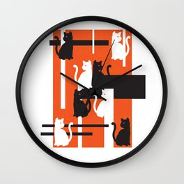 Cat in De Stijl - Halloween Edition Wall Clock