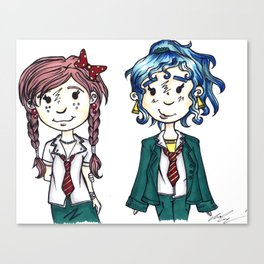 Two Little School Girls Canvas Print