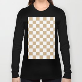 Checkered - White and Tan Brown Long Sleeve T-shirt