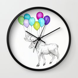 moose with balloons Wall Clock
