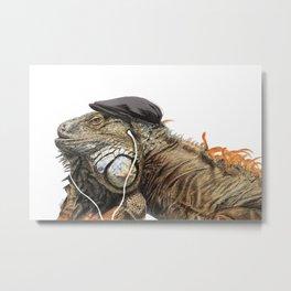 Leguan with headphones Metal Print