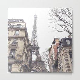 Paris streets, Eiffel tower, city skyline, industrial fine art photo, shabby chic Metal Print