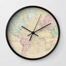 Vintage Map of The World (1862) Wall Clock