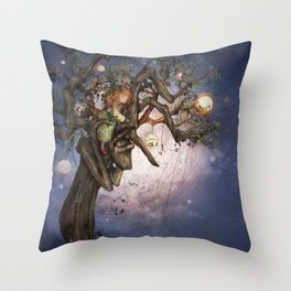 On the river bank Throw Pillow