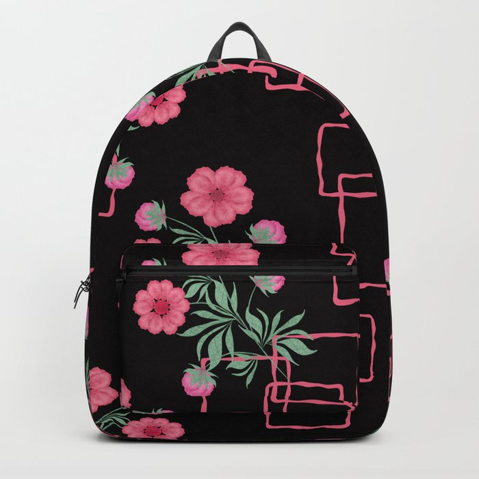 Red ,pink flowers on black background . Backpack