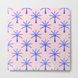 Modern Tropical Print Indigo Blue Palm Trees Pattern  Metal Print