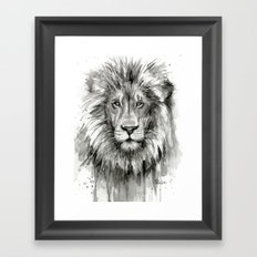 Lion Watercolor Animal Framed Art Print