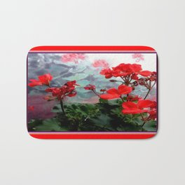 Red Geraniums Floral Red Abstract Bath Mat