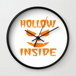 """A Nice Inside Theme Tee For You Who Loves Being Inside Saying """"Hollow Inside"""" T-shirt Design Pumpkin Wall Clock"""