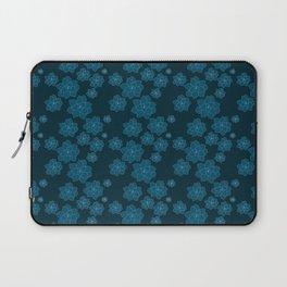 Blue Succulent Organic Pattern - Monochromatic Rosettes  Floral Line Drawing Laptop Sleeve